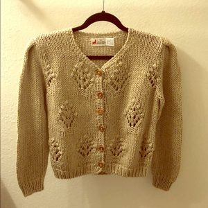 Vintage Cropped Beige Sweater -great cndtion NoSz